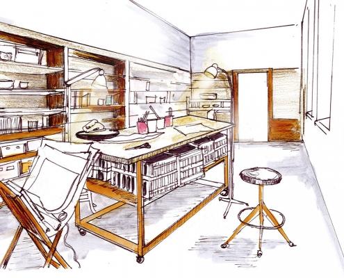 Skizze vom Atelier