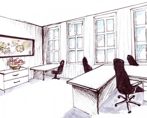 Skizze von einem Büroraum