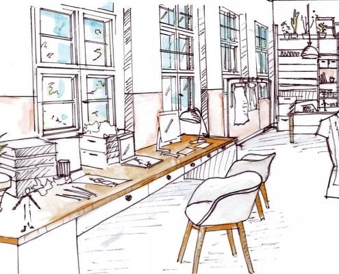 Skizze eines Mode Design Studios